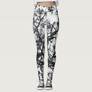 Legging Caneleiras abstratas preto e branco