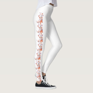 Legging Caneleiras alaranjadas do costume da flor da
