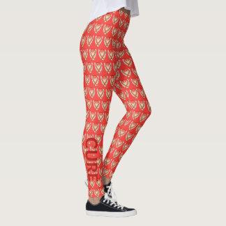 Legging Caneleiras alaranjadas e vermelhas do costume da