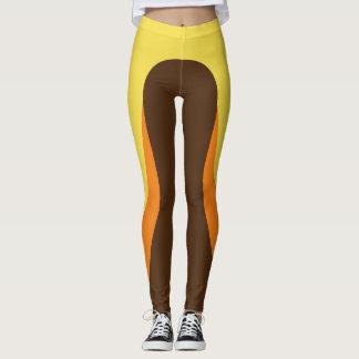 Legging Caneleiras amarelas/da laranja/Brown teste padrão