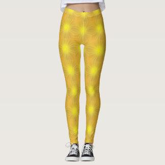 Legging Caneleiras amarelas de incandescência da luz de