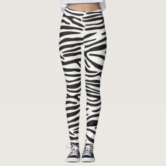 Legging Caneleiras animais da zebra do impressão