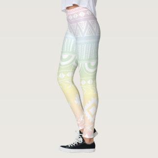 Legging Caneleiras astecas do design do arco-íris Pastel