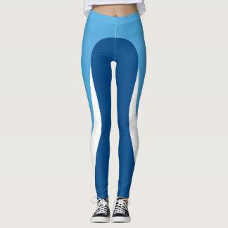 Legging Caneleiras azuis/brancas/azuis do teste padrão