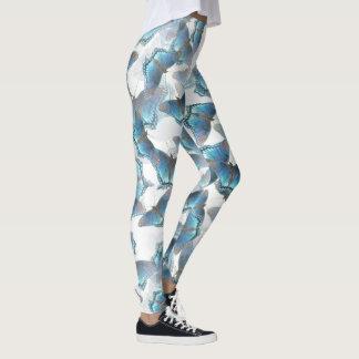 Legging Caneleiras azuis de dança das borboletas