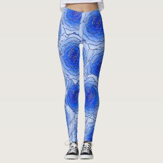 Legging Caneleiras azuis do design dos rosas