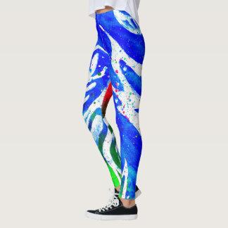 Legging Caneleiras brancas do hippy do verde azul do
