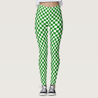 Legging Caneleiras Checkered verdes e brancas