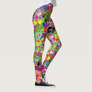 Legging Caneleiras coloridas cómicas do divertimento
