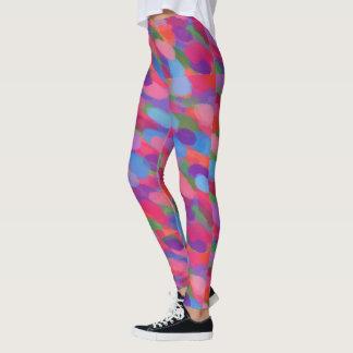 Legging Caneleiras coloridas do impressão das gotas do