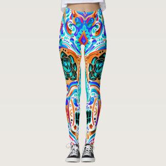 Legging Caneleiras coloridas do tatuagem do crânio do