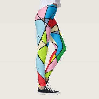 Legging Caneleiras coloridas do teste padrão abstrato