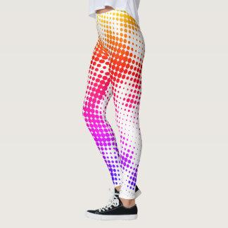 Legging Caneleiras coloridas do teste padrão de ponto