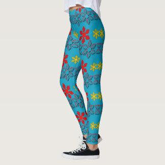 Legging Caneleiras coloridas dos flocos de neve de