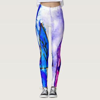 Legging Caneleiras coloridas na moda do abstrato da