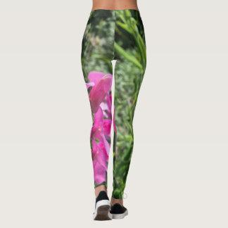 Legging Caneleiras com verde do rosa da flor do impressão