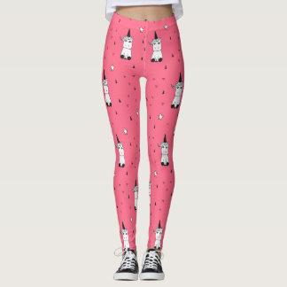Legging Caneleiras cor-de-rosa, brancas, & pretas do