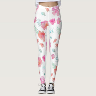 Legging Caneleiras cor-de-rosa das flores da aguarela