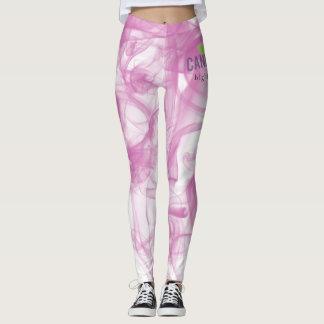 Legging Caneleiras cor-de-rosa do fumo de Cannatopia