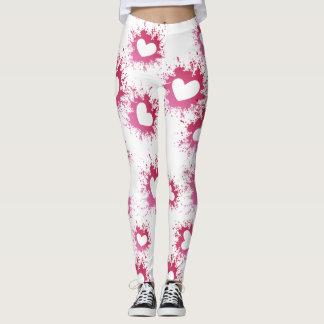 Legging Caneleiras cor-de-rosa do Spatter do amor dos