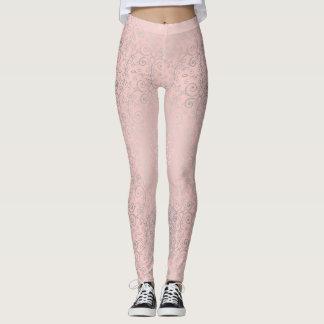 Legging Caneleiras cor-de-rosa e de prata bonitas da