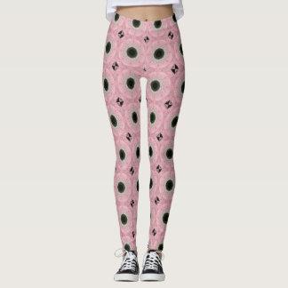 Legging Caneleiras cor-de-rosa e pretas dos rosas