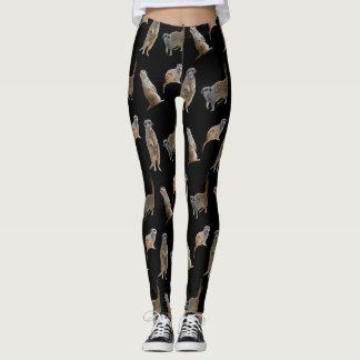 Legging Caneleiras da agitação de Meerkat (preto)