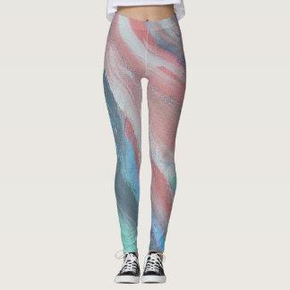 Legging Caneleiras da arte abstracta do pêssego