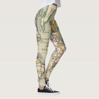 Legging Caneleiras da aventura do mapa do mundo do estilo