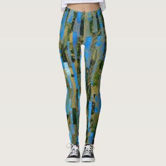 Legging Caneleiras da colagem da arte do verde azul