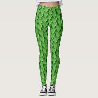 Legging Caneleiras da escala do dragão verde