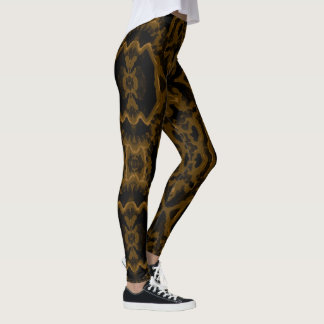 Legging Caneleiras da forma do divertimento do ouro do