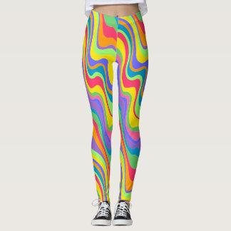 Legging Caneleiras da listra do arco-íris