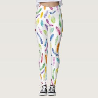 Legging Caneleiras da pena do watercolour do arco-íris