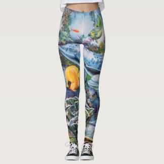 Legging Caneleiras da pintura mural do oceano e dos peixes