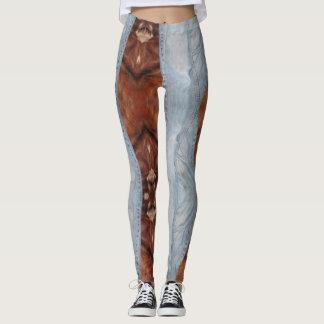 Legging Caneleiras da sarja de Nimes & do couro cru