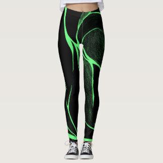 Legging Caneleiras da torção da cor (verde/preto)