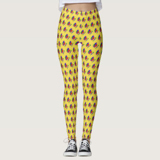 Legging Caneleiras dadas forma Geo do diamante