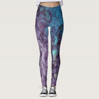 Legging Caneleiras de cristal Amethyst violetas azuis do