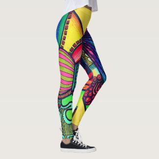 Legging Caneleiras de néon abstratas