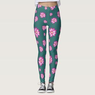 Legging Caneleiras de turquesa com rosa fúcsia