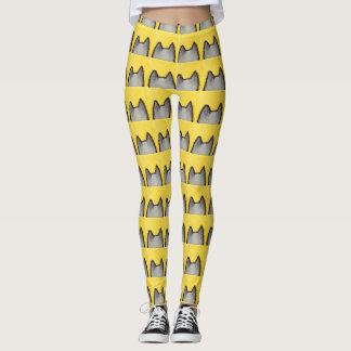 Legging Caneleiras do amarelo do gatinho do pop art