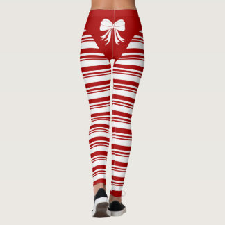 Legging Caneleiras do bastão de doces do Natal