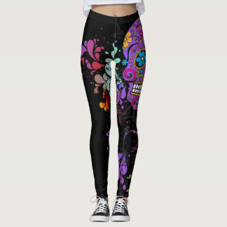 Legging Caneleiras do crânio de Girlie