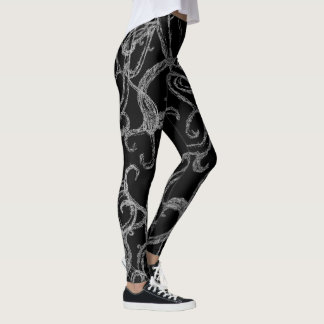 Legging Caneleiras do desenhista das videiras de Swirly