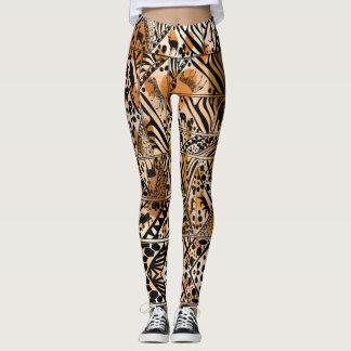 Legging Caneleiras do design do safari do Batik