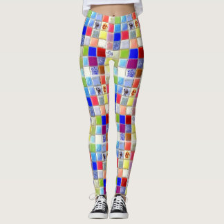 Legging Caneleiras do hippy do azulejo do mosaico