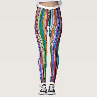 Legging Caneleiras do impressão do abstrato do arco-íris