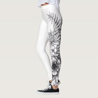 Legging Caneleiras do impressão do tatuagem da flor de