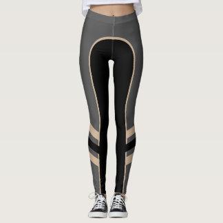 Legging Caneleiras do ouro/banda lateral da platina/preto